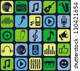 Vector music seamless pattern with icons and pictograms - stock