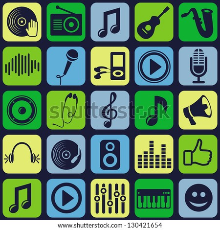 Vector music seamless pattern with icons and pictograms - stock vector