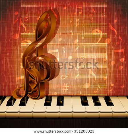 Vector musical background piano keys closeup with musical signs on the background of texture with notes.It can be used as a poster, advertising or separately.