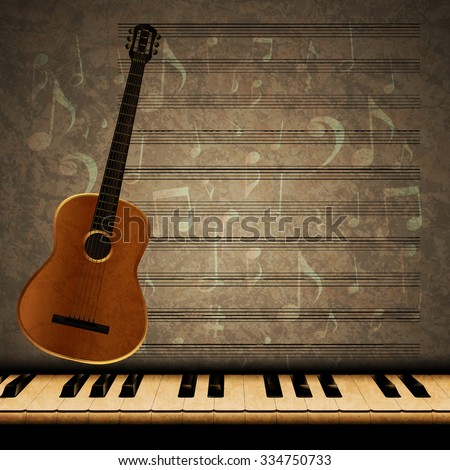 Vector musical background with acoustic guitar and dimming the piano keys on the texture background with music notes and signs.It can be used as a poster, advertising or separately.