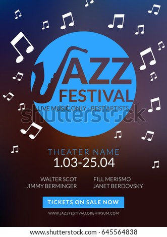 Vector Musical Flyer Jazz Festival Music Stock Vector 481931290