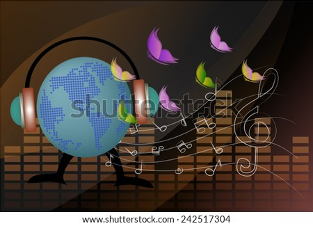 vector musical globe with speaker - stock vector