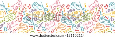 Vector musical instruments horizontal seamless pattern ornament background with hand drawn elements. - stock vector