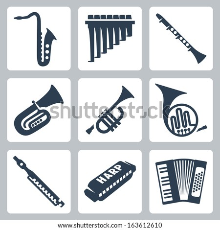 Vector musical instruments: pipes, harmonica and accordion - stock vector