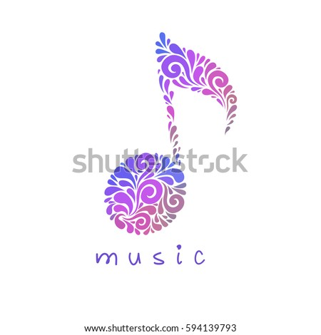 Vector Musical Note Floral Shapes Music Stock Vector 594139793