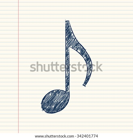Vector musical notes.Doodle style Sketch. - stock vector