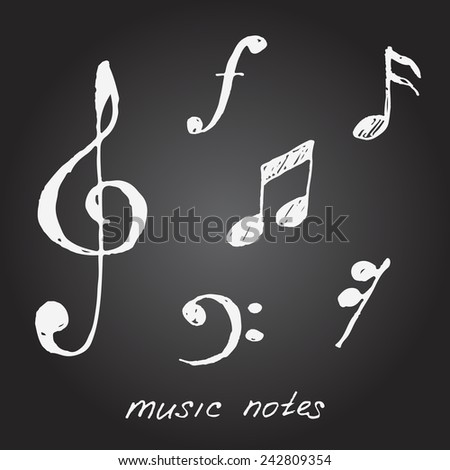 Vector musical notes on blackboard. Sketch. - stock vector