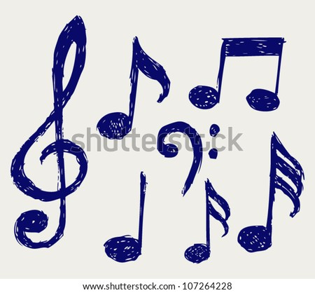 Vector musical notes. Sketch - stock vector