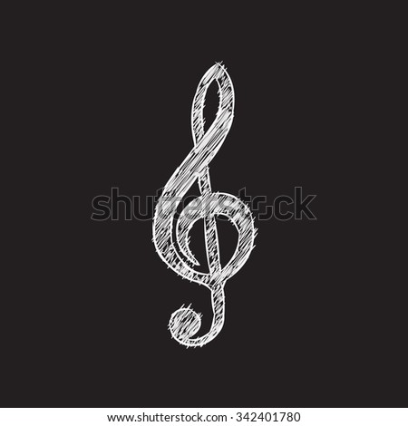 Vector musical notes. Treble clef.Doodle style Sketch. - stock vector