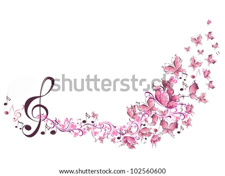 Vector musical notes with butterflies