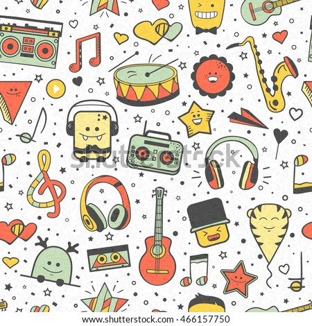 Vector musical pattern, doodle style. Seamless musical texture. Hand drawn design elements: notes,  headphones, player, musical instruments, lifestyle, music. Vintage music background.