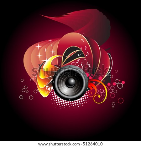 vector musical speaker design with artistic background.