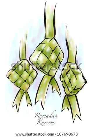 Vector Muslim Ketupat Drawing Translation: Ramadan Kareen - May Generosity Bless You During The Holy Month - stock vector