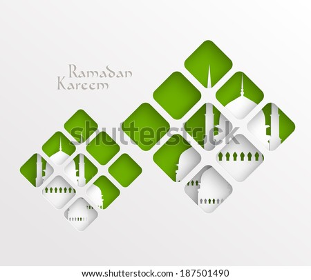 Vector Muslim Paper Graphics. Translation: Ramadan Kareem - May Generosity Bless You During The Holy Month. - stock vector