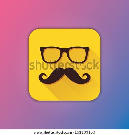 Vector Mustache and Glasses Icon - stock vector