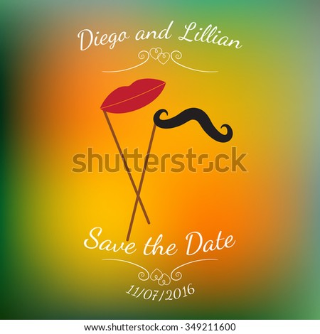 Vector mustache and lips on stick over abstract colorful blurred vector background. Element for wedding designs, website, logo, and other. Greeting card template, Save the Date. - stock vector