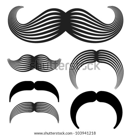 vector mustache vintage black icons - stock vector