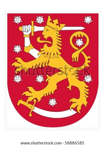 Vector national coat of arms of Finland - stock vector