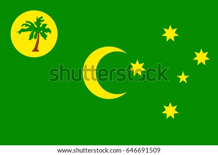 Vector National Flag Of Cocos Keeling Islands Patriotic Sign In Official Country Color