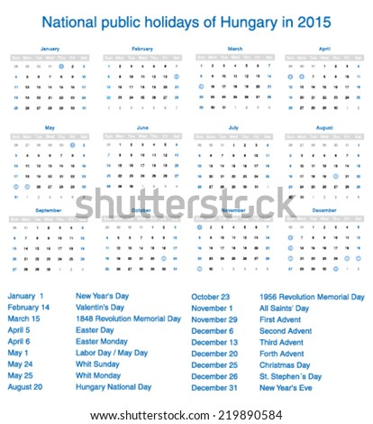 Vector national public holidays of Hungary in 2015. Template design calendar.