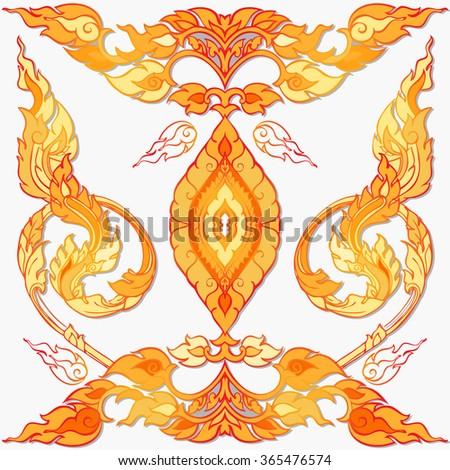Vector Native Thai Ornament. Seamless Asian Background. - stock vector