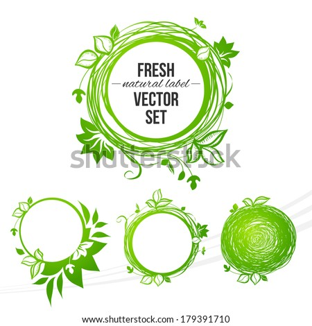 Vector natural colored circle labels set design - stock vector