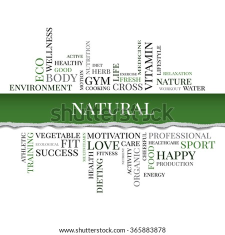 Vector NATURAL concept related words in tag cloud isolated on white with different association organic and healthy terms. The effect of torn paper - stock vector