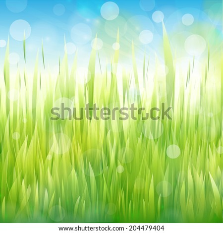 Vector natural green background with sunlight and grass. - stock vector