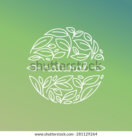 Vector natural label in trendy linear style - badge with green leaves - stock vector