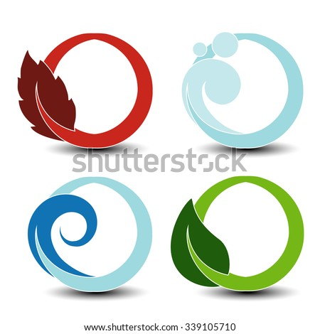 Vector natural symbols - fire, air, water, earth - nature circular elements with flame, bubble air, wave water and leaf - stock vector