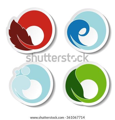 Vector natural symbols - fire, air, water, earth - nature circular stickers with flame, bubble air, wave water and leaf - stock vector