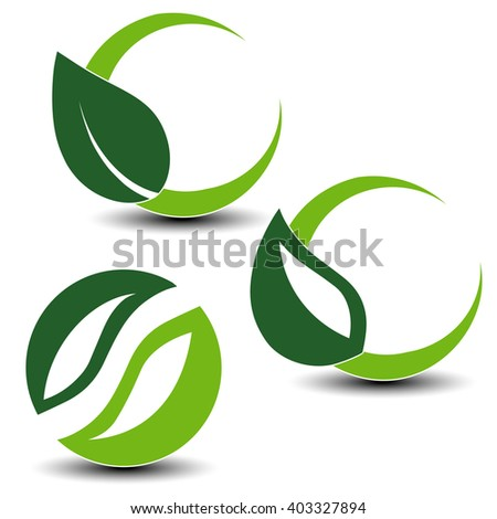 Vector nature circular symbols with leaf, natural simple elements, green eco labels with shadow - set 3