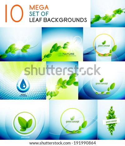 Vector nature concepts design collection. Green leaves, water, blue sky, environmental templates - stock vector