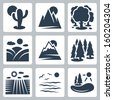 Vector nature icons set: desert, mountains, forest, meadow, snow-covered mountains, conifer forest, field, sea, lake - stock vector