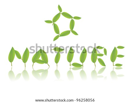 Vector nature lettering with leaves - stock vector