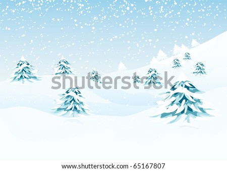 Vector nature series. Vector winter landscape with pine trees and distant hills. - stock vector