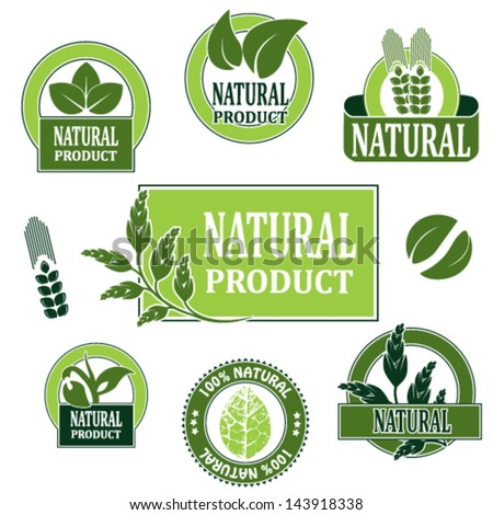Vector nature symbols for natural product - stock vector