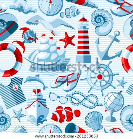 Vector Nautical and marine seamless background.  - stock vector