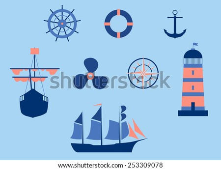 Vector Nautical Elements Flat Design, Eps 8 Vector, Raster version Available - stock vector