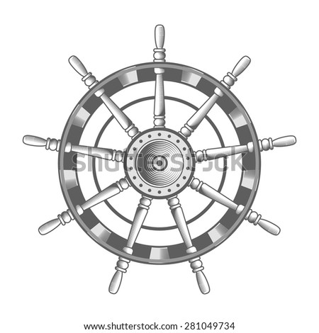 vector nautical label. vintage rudder, icon and design element. - stock vector