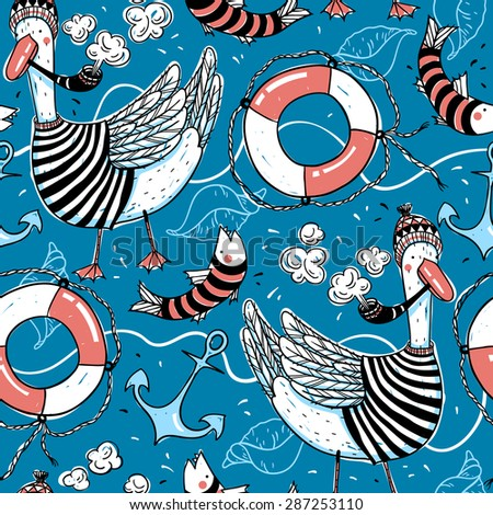 vector nautical seamless pattern with sailors, fishes and different nautical elements
