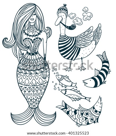 vector nautical set of hand drawn linear details