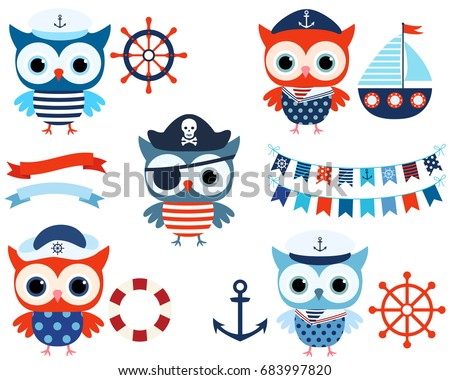 Vector nautical set cute sailor pirate stock vector 683997820 vector nautical set with cute sailor and pirate owls with ocean themed objects and buntings in stopboris Image collections