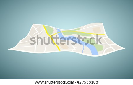 Vector navigation map icon isolated. - stock vector