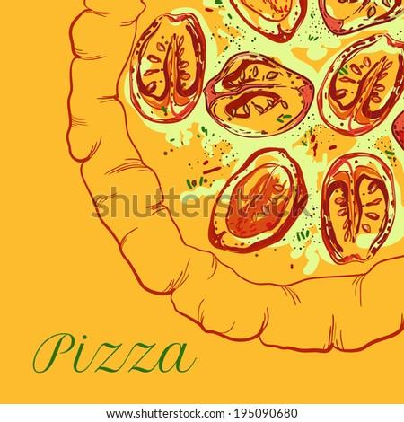 vector neapolitan pizza with mozzarella, tomato and basil - stock vector