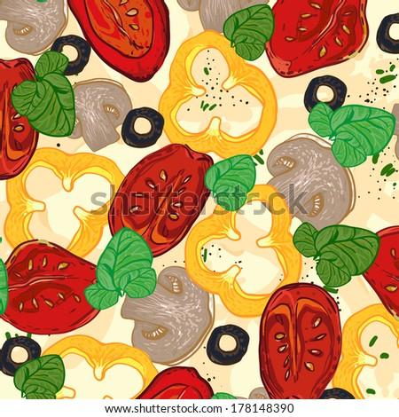 vector neapolitan pizza with mozzarella, tomato and basil, champignon, pepper, olive - stock vector