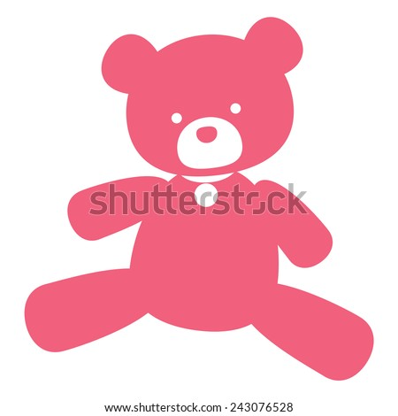 vector neat picture pink bear - for signs, logos and stamping
