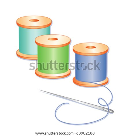 vector - Needle and Thread. Blue, aqua, green spools of thread, silver needle, isolated on white, for sewing, tailoring, quilting, needlecraft, arts, crafts and handmade do it yourself projects. EPS8. - stock vector