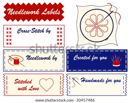 vector - Needlework Sewing Labels, copy space for embroidery, applique, needlepoint, crewel, cross stitch, stitchery, tapestry, do it yourself crafts. Needles, threads, pins, hoop, heart, love. EPS8. - stock vector