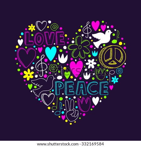 Doodle Drawing Peace Sign Sketch Stock Photos, Images ...